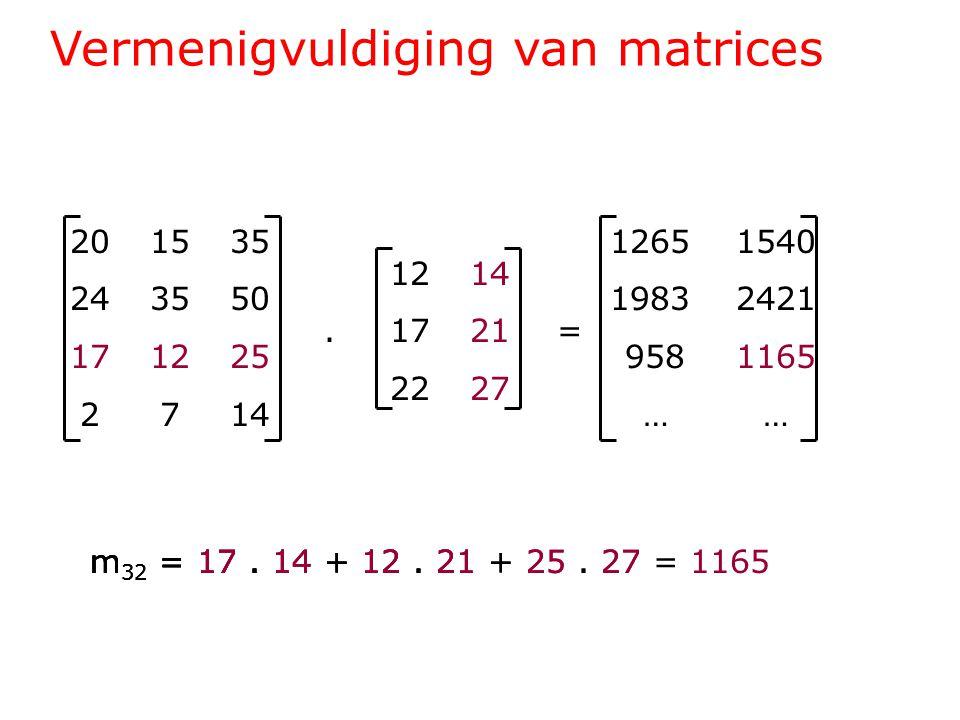 Vermenigvuldiging van matrices 201535 243550 171225 2714 1214.1721= 2227 1265 1540 1983 2421 958 1165 … … m 32 = 17.
