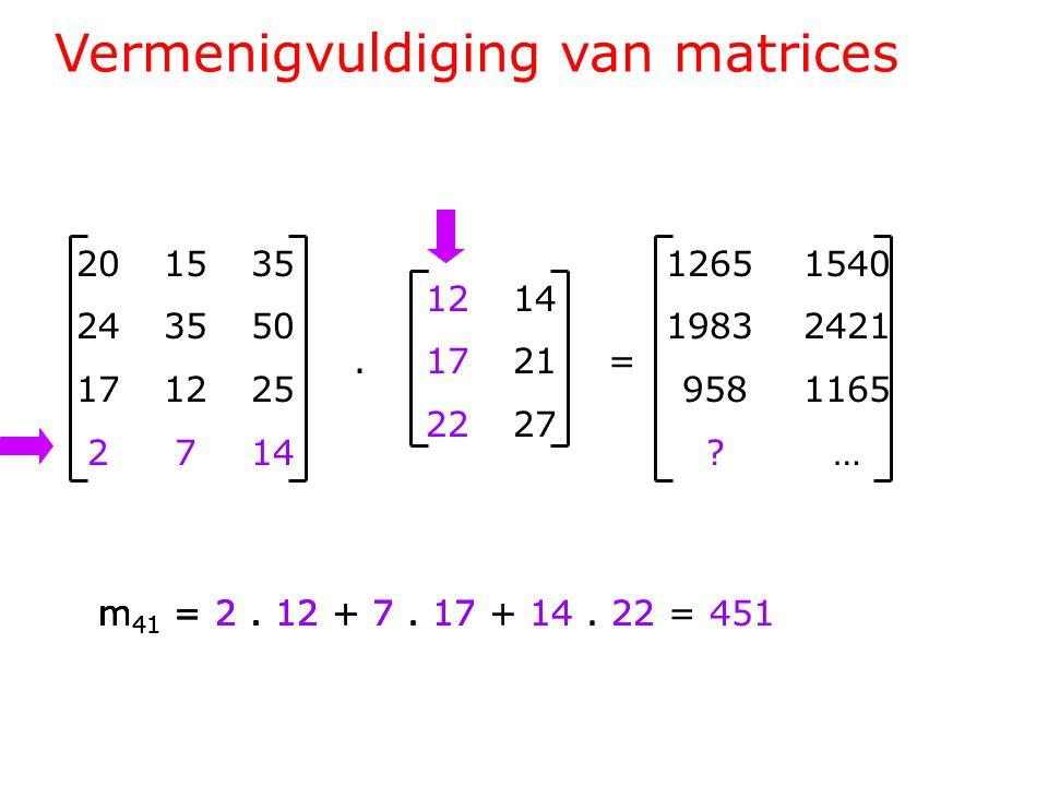 Vermenigvuldiging van matrices 201535 243550 171225 2714 1214.1721= 2227 1265 1540 1983 2421 958 1165 .
