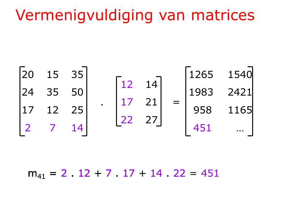 Vermenigvuldiging van matrices 201535 243550 171225 2714 1214.1721= 2227 1265 1540 1983 2421 958 1165 451 … m 41 = 2.