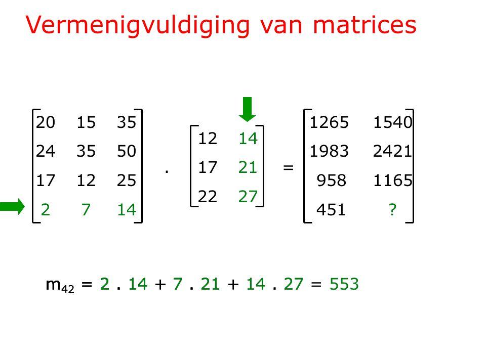 Vermenigvuldiging van matrices 201535 243550 171225 2714 1214.1721= 2227 1265 1540 1983 2421 958 1165 451 .