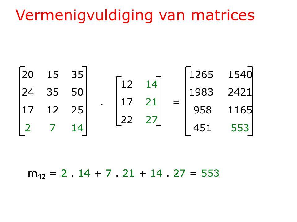 Vermenigvuldiging van matrices 201535 243550 171225 2714 1214.1721= 2227 1265 1540 1983 2421 958 1165 451 553 m 42 = 2.