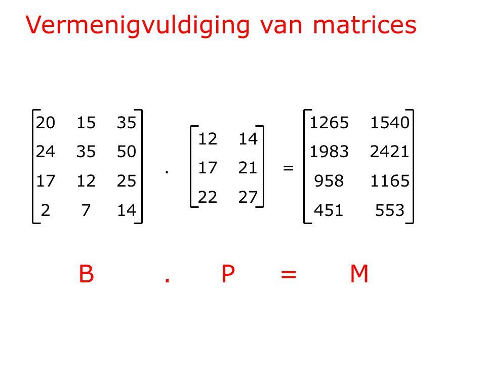 Vermenigvuldiging van matrices 201535 243550 171225 2714 1214.1721= 2227 12651540 19832421 9581165 451553 B.P=MB.P=M