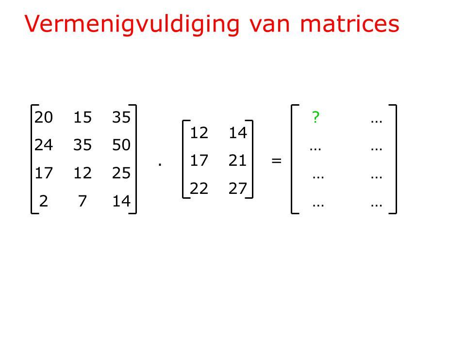 Vermenigvuldiging van matrices 201535 243550 171225 2714 1214.1721= 2227 … … … …