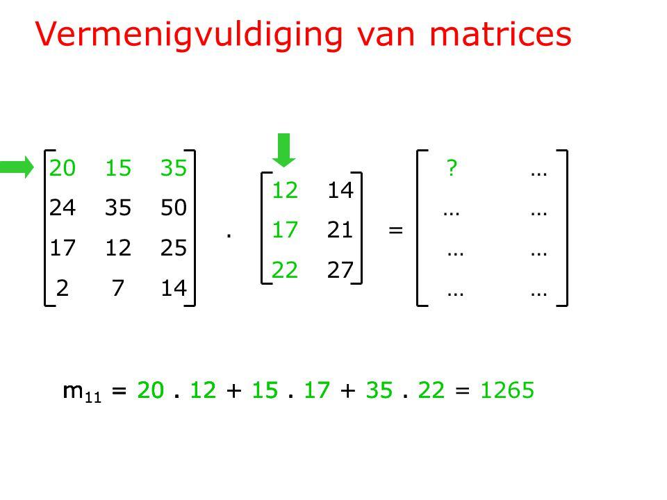 Vermenigvuldiging van matrices 201535 243550 171225 2714 1214.1721= 2227 .