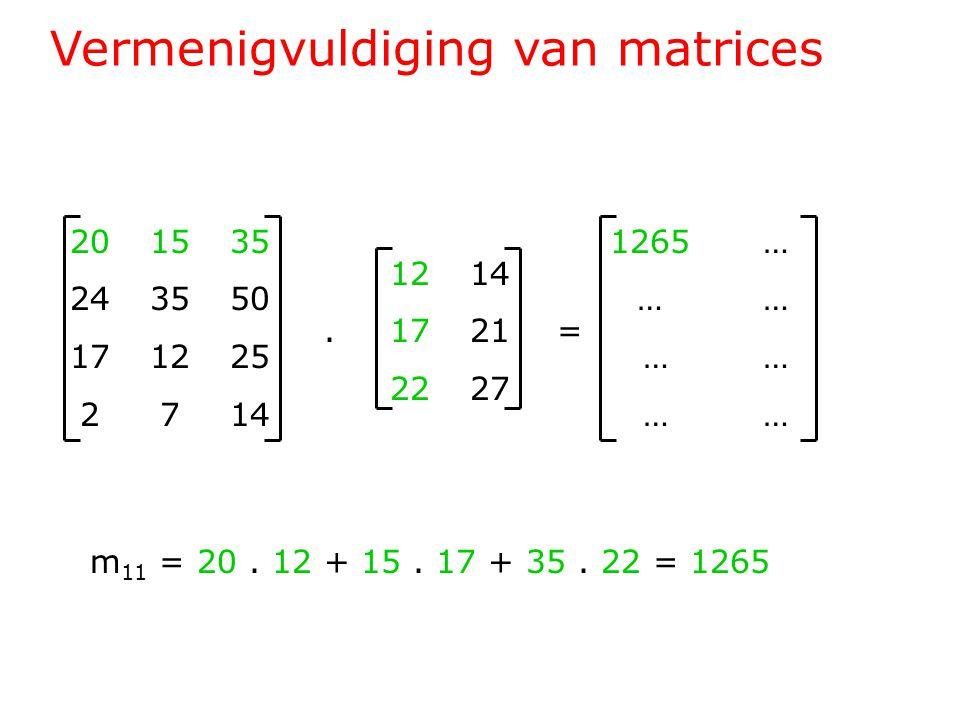 Vermenigvuldiging van matrices 201535 243550 171225 2714 1214.1721= 2227 1265 … … … … m 11 = 20.