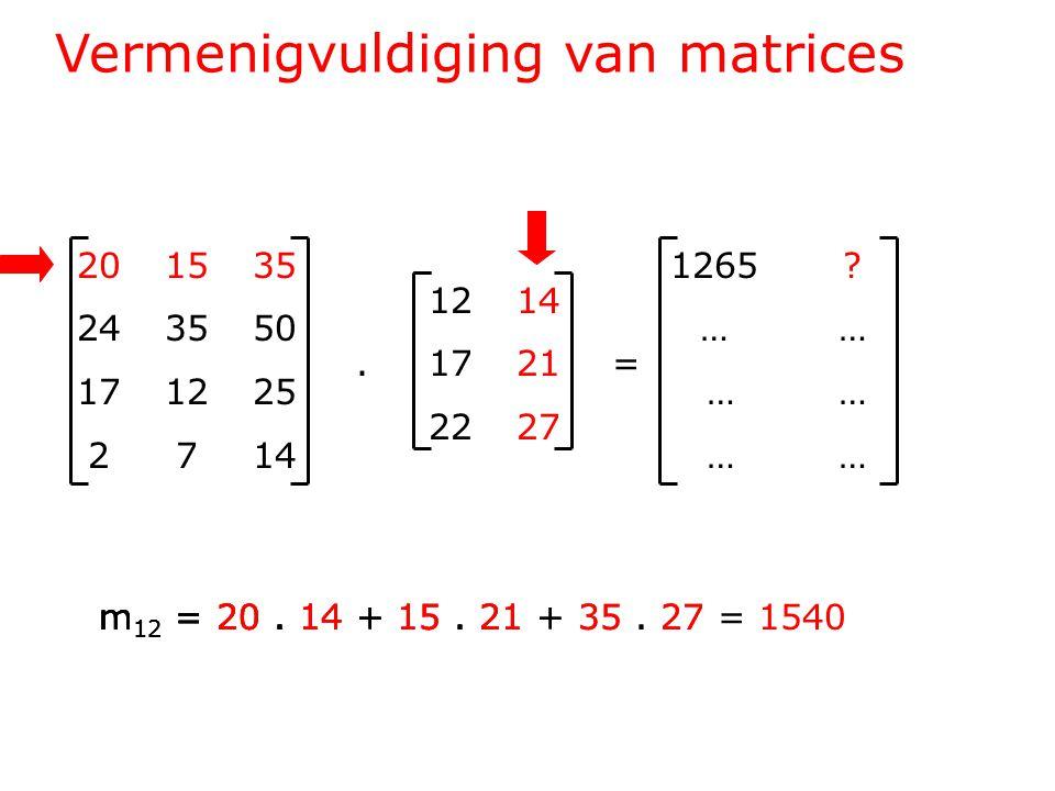 Vermenigvuldiging van matrices 201535 243550 171225 2714 1214.1721= 2227 1265 .