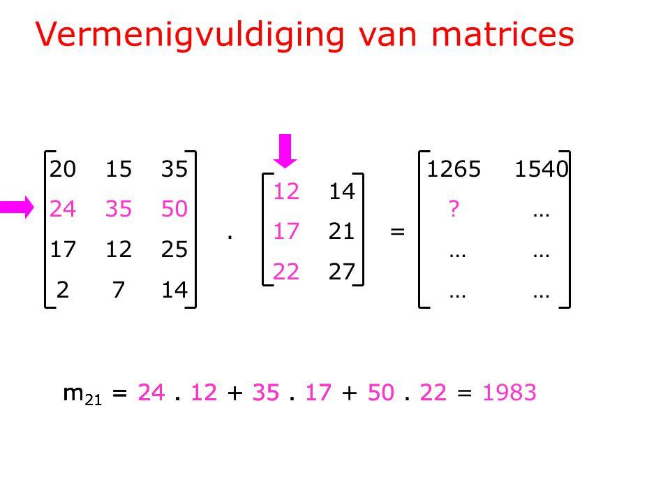 Vermenigvuldiging van matrices 201535 243550 171225 2714 1214.1721= 2227 1265 1540 .
