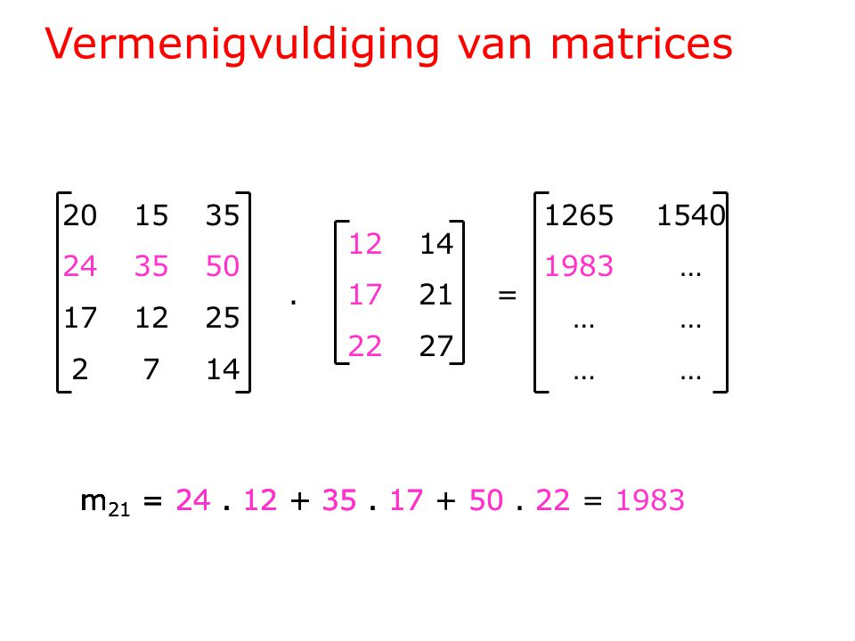 Vermenigvuldiging van matrices 201535 243550 171225 2714 1214.1721= 2227 1265 1540 1983 … … … m 21 = 24.