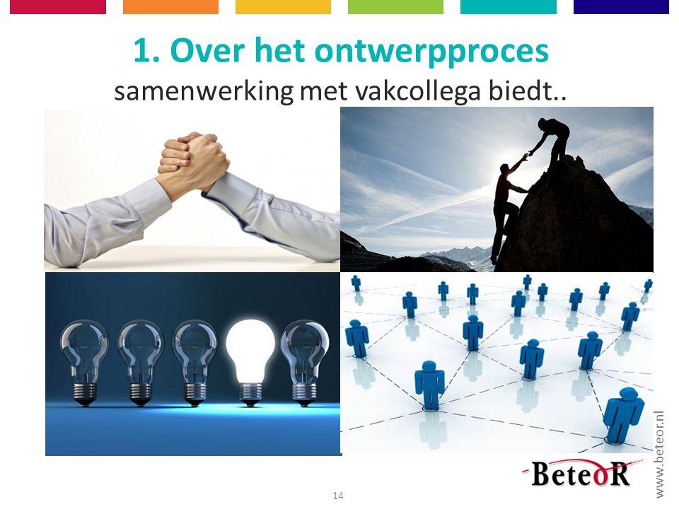 www.beteor.nl 1. Over het ontwerpproces samenwerking met vakcollega biedt.. 14