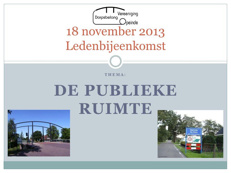 THEMA: DE PUBLIEKE RUIMTE 18 november 2013 Ledenbijeenkomst