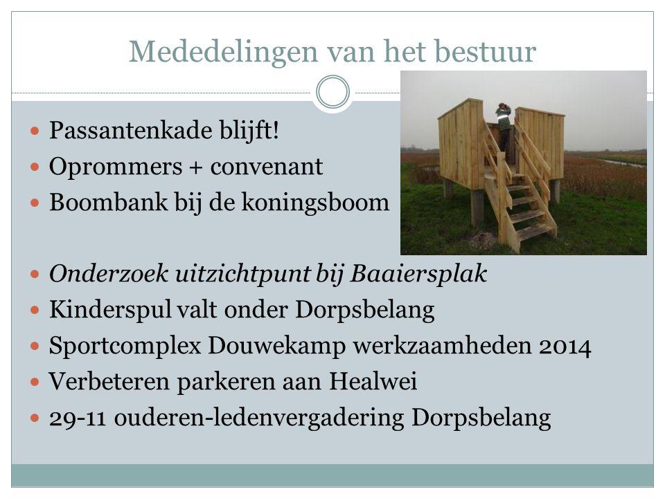 Mededelingen van het bestuur Passantenkade blijft! Oprommers + convenant Boombank bij de koningsboom Onderzoek uitzichtpunt bij Baaiersplak Kinderspul