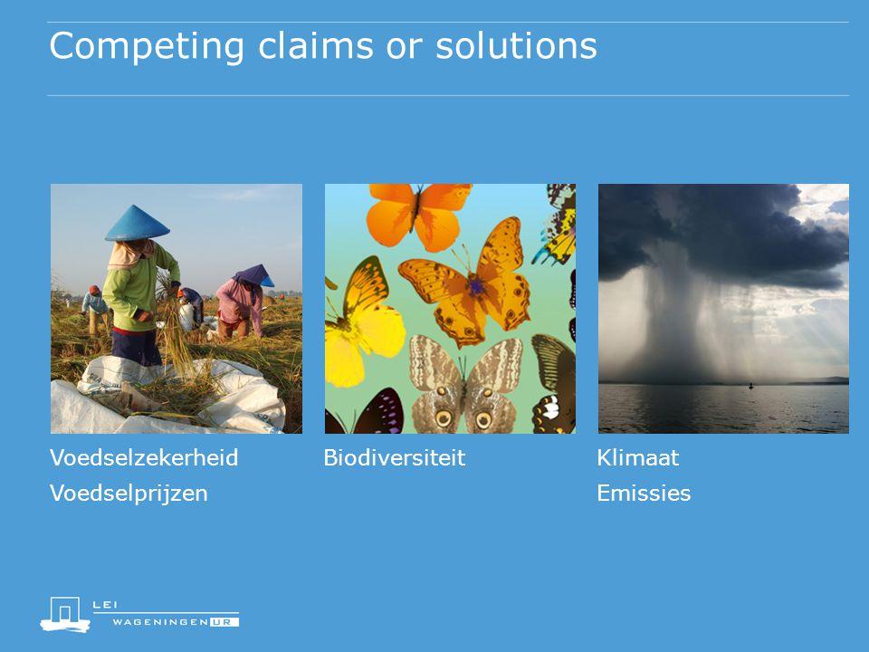 Competing claims or solutions VoedselzekerheidBiodiversiteitKlimaat VoedselprijzenEmissies