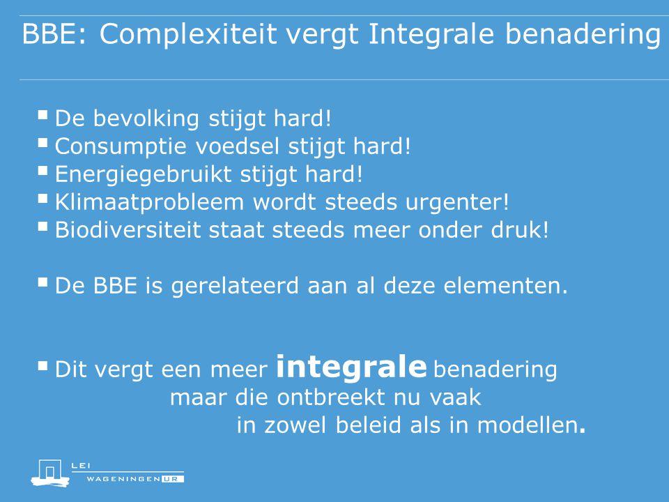 BBE: Complexiteit vergt Integrale benadering  De bevolking stijgt hard!  Consumptie voedsel stijgt hard!  Energiegebruikt stijgt hard!  Klimaatpro