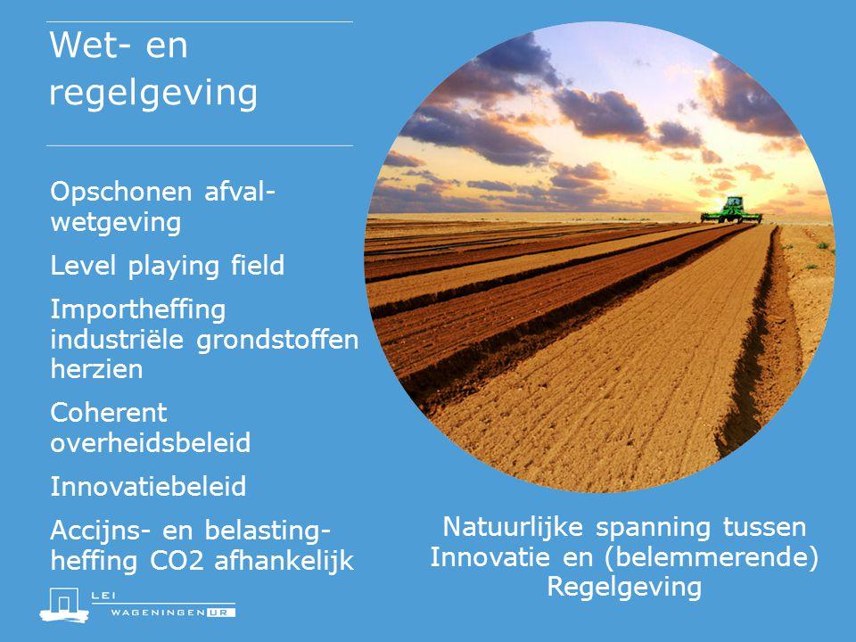Wet- en regelgeving Opschonen afval- wetgeving Level playing field Importheffing industriële grondstoffen herzien Coherent overheidsbeleid Innovatiebe