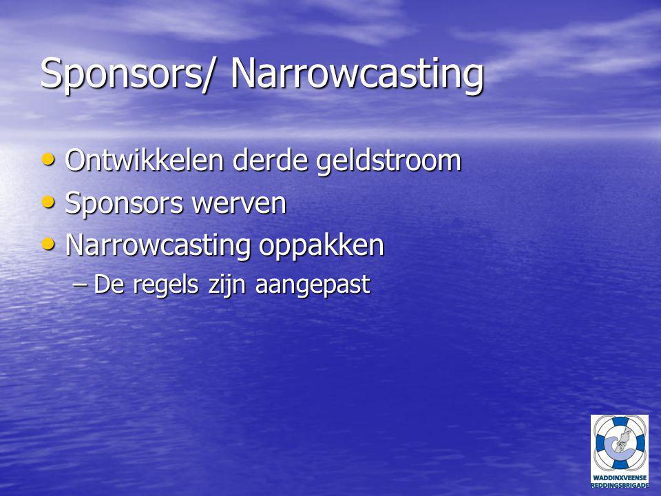 Sponsors/ Narrowcasting Ontwikkelen derde geldstroom Ontwikkelen derde geldstroom Sponsors werven Sponsors werven Narrowcasting oppakken Narrowcasting oppakken –De regels zijn aangepast