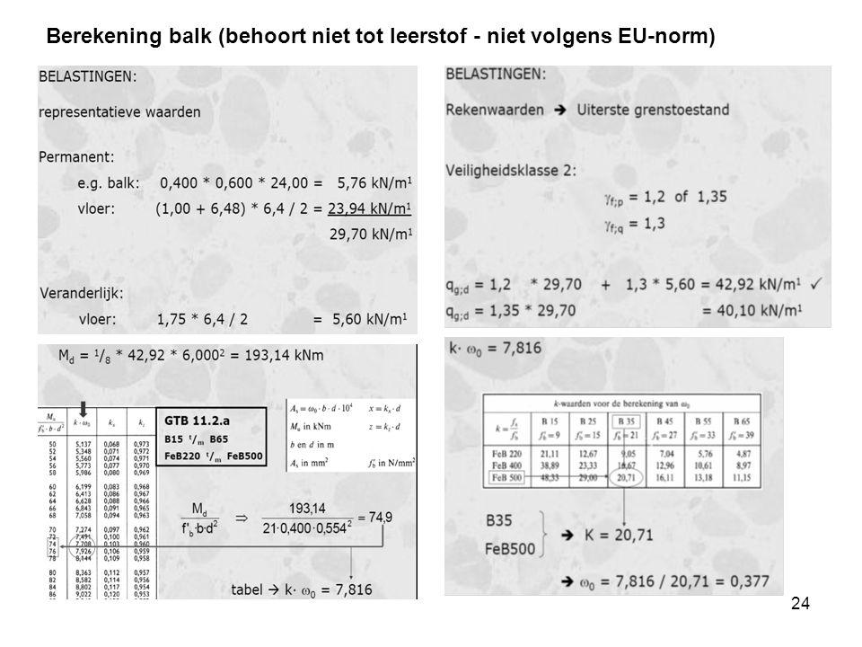 24 Berekening balk (behoort niet tot leerstof - niet volgens EU-norm)