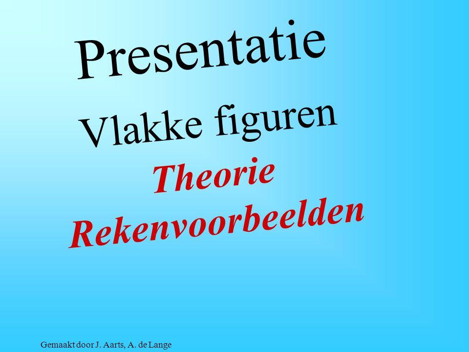 Presentatie Vlakke figuren Theorie Rekenvoorbeelden Gemaakt door J. Aarts, A. de Lange