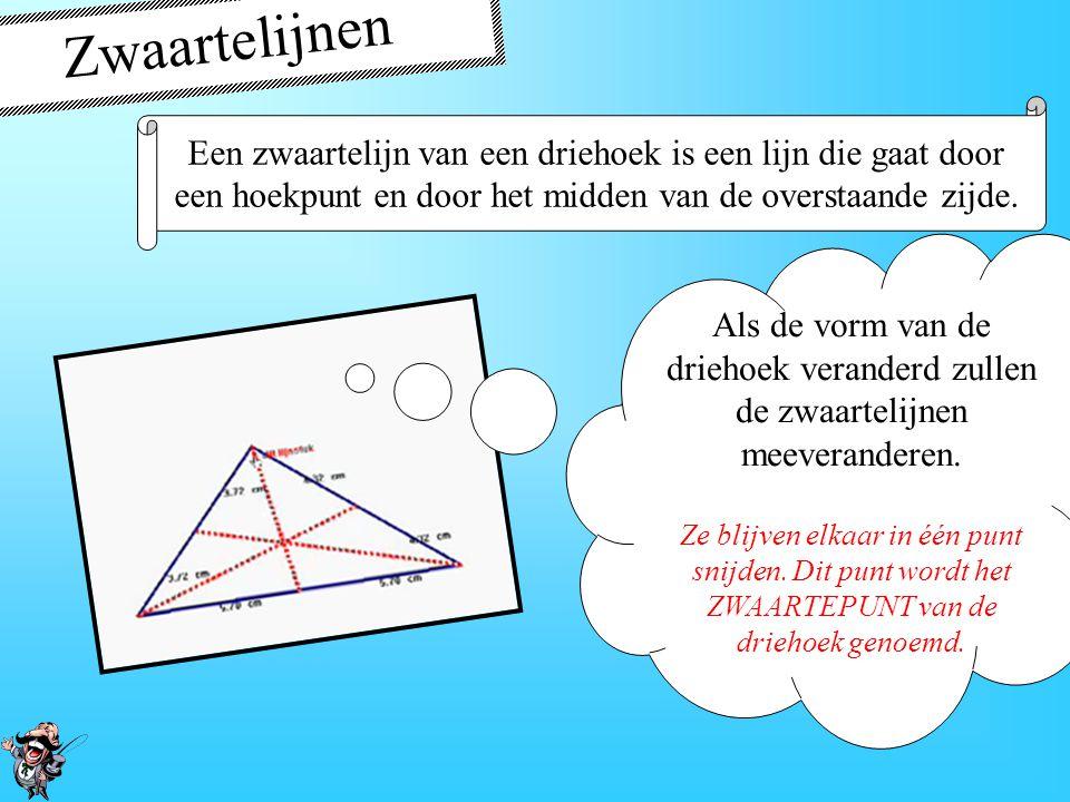 De middelloodlijn In een driehoek snijden de middelloodlijnen van de zijden elkaar in één punt.