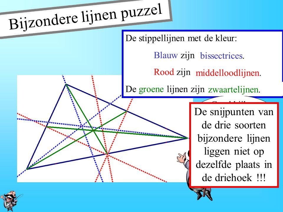 Hoogtelijnen De hoogte van een driehoek is een lijn die door een hoekpunt gaat en loodrecht op de overstaande zijde staat. A B C P Q R Zijde AB CQ Bij