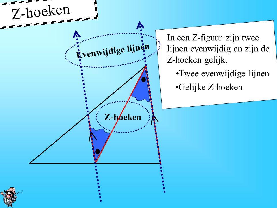 Z-hoeken In een Z-figuur zijn twee lijnen evenwijdig en zijn de Z-hoeken gelijk. Twee evenwijdige lijnen Twee paren gelijke Z- hoeken