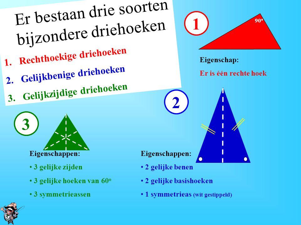Er bestaan drie soorten bijzondere driehoeken 1.Rechthoekige driehoeken 2.Gelijkbenige driehoeken 3.Gelijkzijdige driehoeken 1 90 o Eigenschap: Er is één rechte hoek 2 Eigenschappen: 2 gelijke benen 2 gelijke basishoeken 1 symmetrieas (wit gestippeld) 3 Eigenschappen: 3 gelijke zijden 3 gelijke hoeken van 60 o 3 symmetrieassen