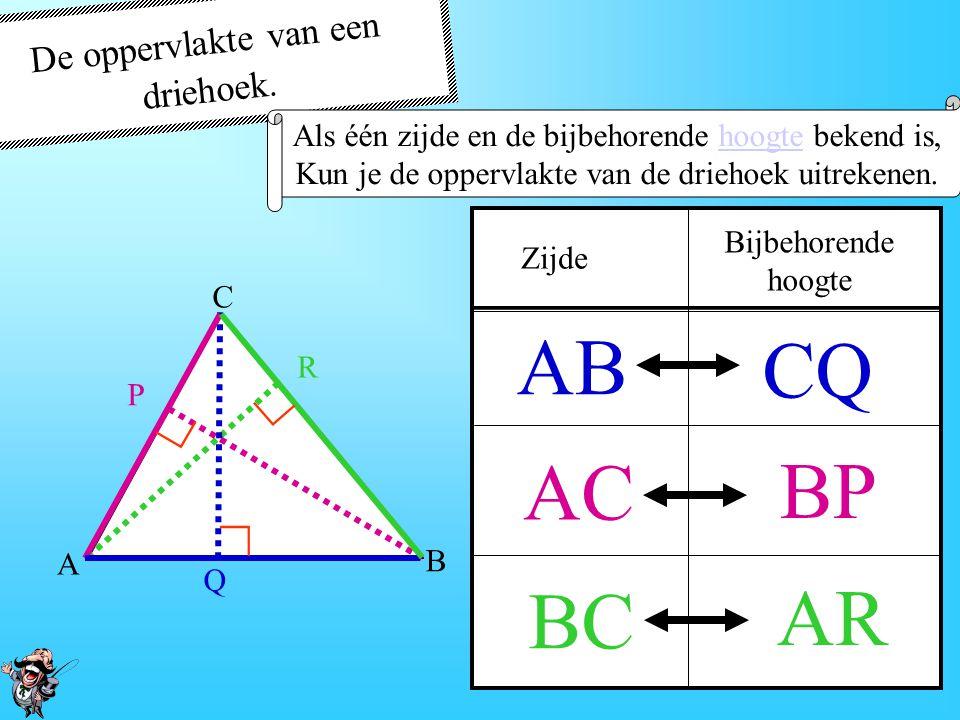 Breedte De oppervlakte van de driehoek, is precies de HELFT van het rechthoek De oppervlakte van een driehoek. De algemene formule ∟ Lengte = zijde Br