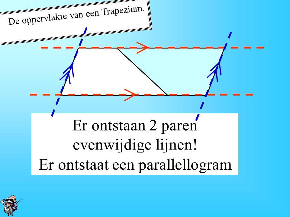 De oppervlakte van een Trapezium. Kopiëer het trapezium Draai het trapezium om. Aansluiten!!
