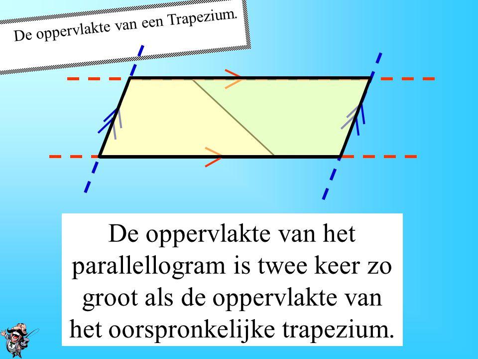 De oppervlakte van een Trapezium. Er ontstaan 2 paren evenwijdige lijnen! Er ontstaat een parallellogram