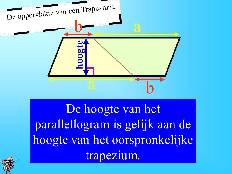 De oppervlakte van een Trapezium. De bovenste zijde van het oorspronkelijke trapezium noemen we b. a a b b