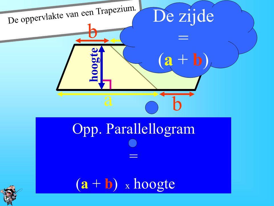De oppervlakte van een Trapezium. De hoogte van het parallellogram is gelijk aan de hoogte van het oorspronkelijke trapezium. a a b b hoogte