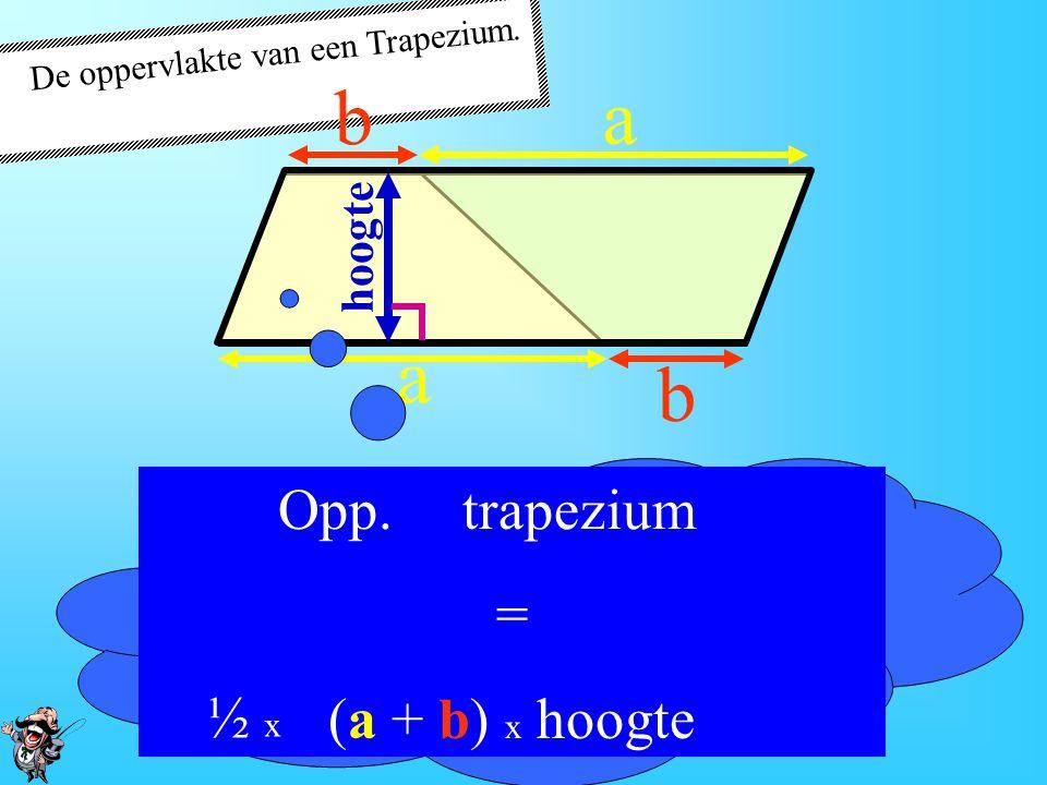 De oppervlakte van een Trapezium. Opp. Parallellogram = zijde x hoogte a a b b hoogte De zijde = (a + b)