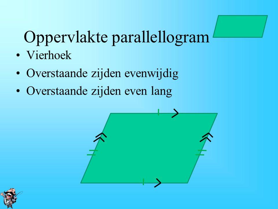 De oppervlakte van een Trapezium. De algemene formule: Opp. Trapezium = ½ x (a + b) x hoogte 1.Tel de lengten van de onderste en de bovenste zijden bi