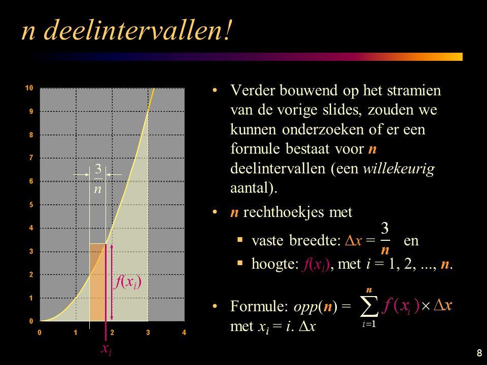 9 n deelintervallen: waarde De benaderende oppervlakte opp(n) kan algebraïsch berekend worden; wij maken gebruik van een computerprogramma.