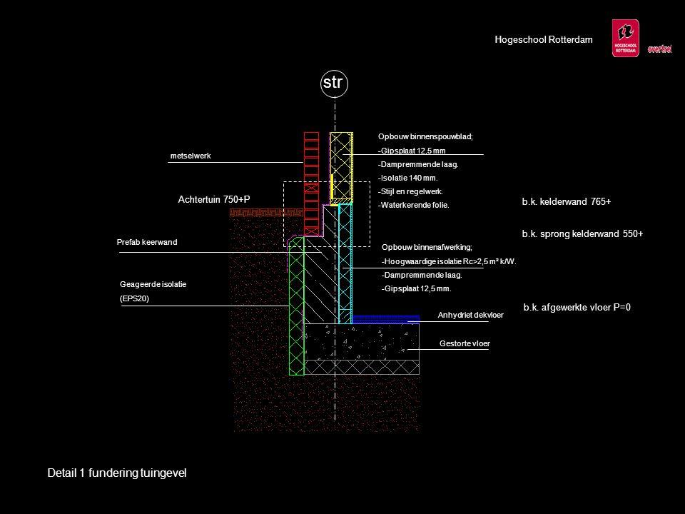 str Geageerde isolatie (EPS20) metselwerk Prefab keerwand Opbouw binnenafwerking; -Hoogwaardige isolatie Rc>2,5 m² k/W.
