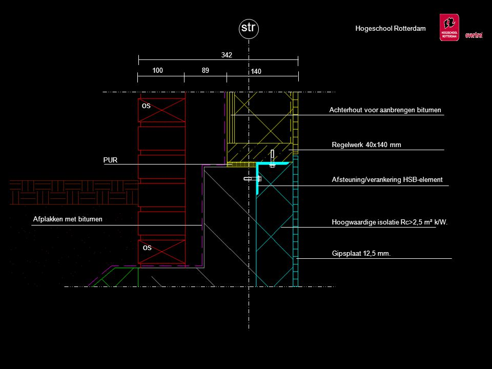 Hogeschool Rotterdam Geageerde isolatie (EPS20) Prefab keerwand Opbouw binnenafwerking; -Hoogwaardige isolatie Rc>2,5 m² k/W.