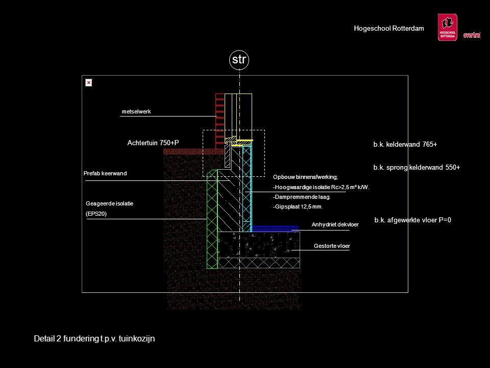 Hogeschool Rotterdam Geageerde isolatie (EPS20) Prefab keerwand Opbouw binnenafwerking; -Hoogwaardige isolatie Rc>2,5 m² k/W. -Dampremmende laag. -Gip