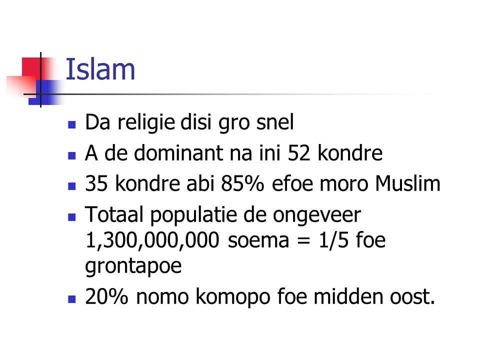 Islam Da religie disi gro snel A de dominant na ini 52 kondre 35 kondre abi 85% efoe moro Muslim Totaal populatie de ongeveer 1,300,000,000 soema = 1/5 foe grontapoe 20% nomo komopo foe midden oost.