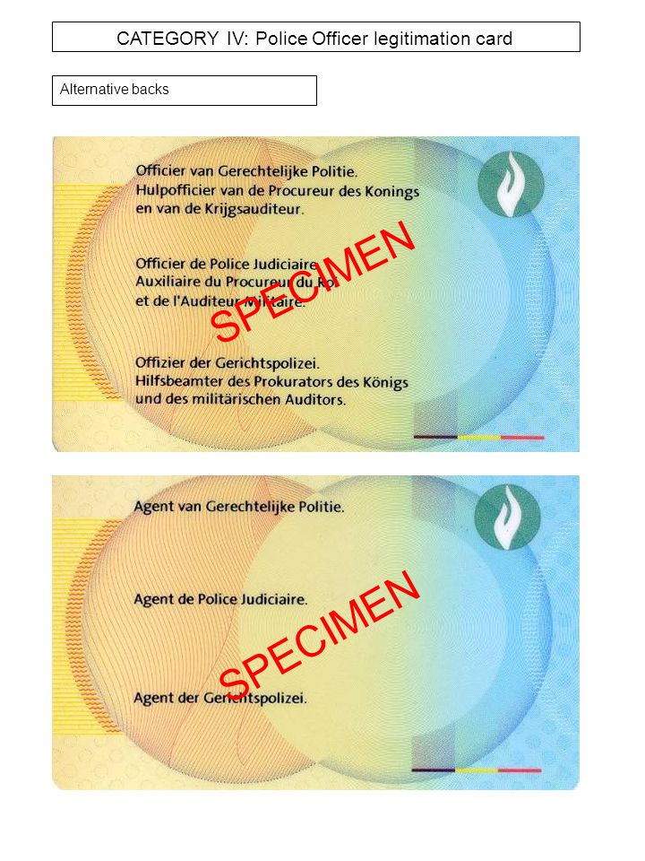 CATEGORY IV: Police Officer legitimation card Alternative backs SPECIMEN