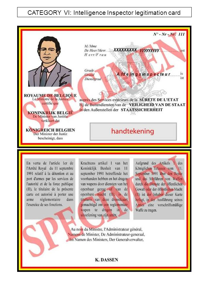 CATEGORY VII : NMBS ( Train ) legitimation card SPECIMEN