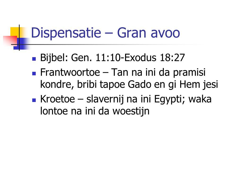 Dispensatie – Gran avoo Bijbel: Gen.
