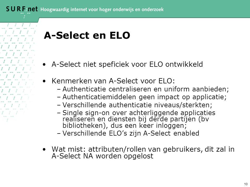 10 A-Select en ELO A-Select niet speficiek voor ELO ontwikkeld Kenmerken van A-Select voor ELO: –Authenticatie centraliseren en uniform aanbieden; –Authenticatiemiddelen geen impact op applicatie; –Verschillende authenticatie niveaus/sterkten; –Single sign-on over achterliggende applicaties realiseren en diensten bij derde partijen (bv bibliotheken), dus een keer inloggen; –Verschillende ELO's zijn A-Select enabled Wat mist: attributen/rollen van gebruikers, dit zal in A-Select NA worden opgelost