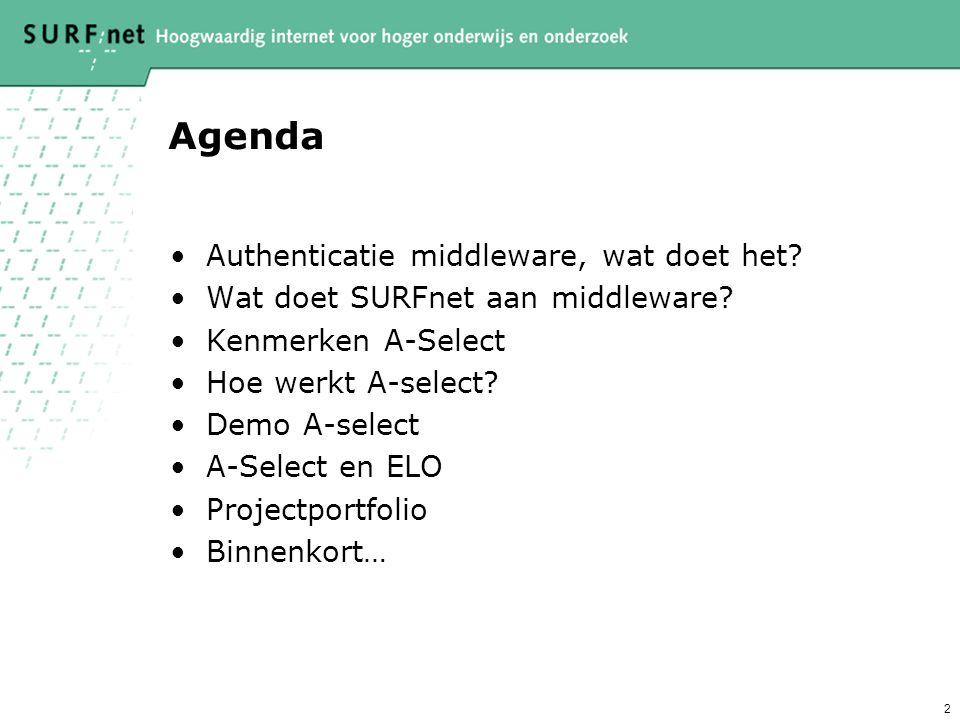 2 Agenda Authenticatie middleware, wat doet het. Wat doet SURFnet aan middleware.