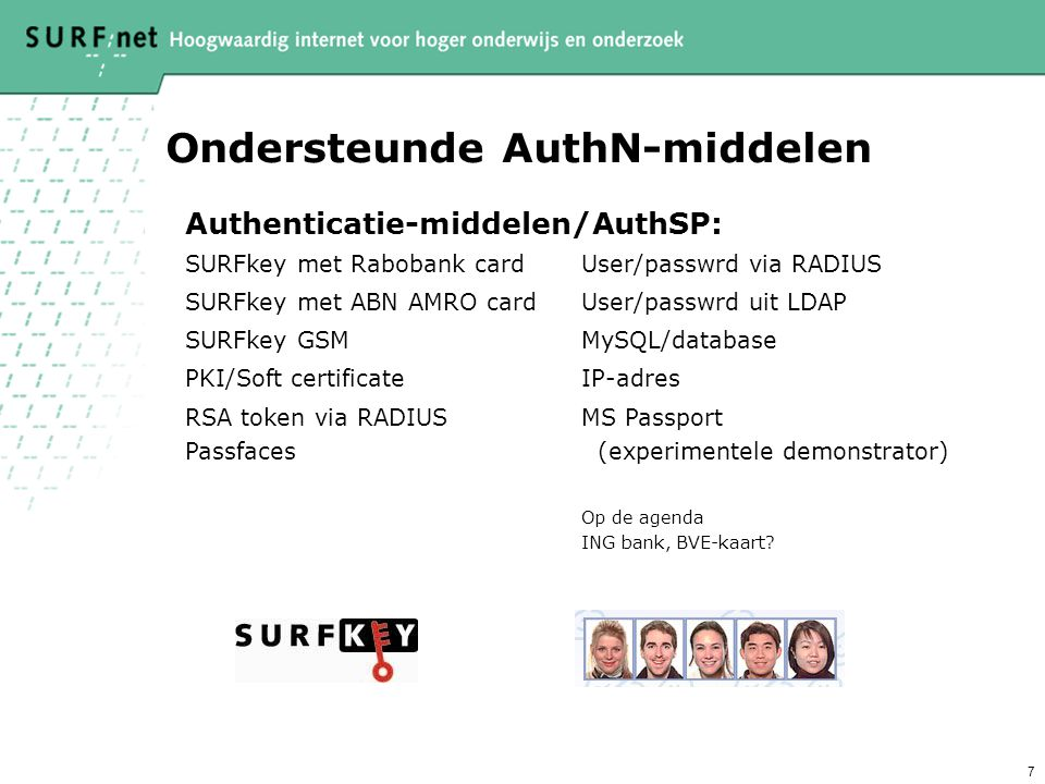 7 Ondersteunde AuthN-middelen Authenticatie-middelen/AuthSP: SURFkey met Rabobank cardUser/passwrd via RADIUS SURFkey met ABN AMRO cardUser/passwrd uit LDAP SURFkey GSMMySQL/database PKI/Soft certificateIP-adres RSA token via RADIUS Passfaces MS Passport (experimentele demonstrator) Op de agenda ING bank, BVE-kaart?