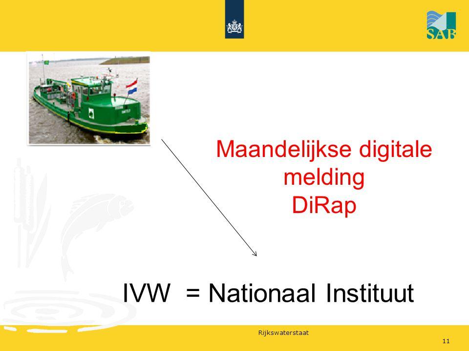 Rijkswaterstaat Maandelijkse digitale melding DiRap IVW = Nationaal Instituut 11
