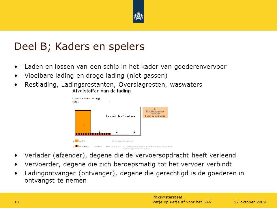 Rijkswaterstaat Petje op Petje af voor het SAV1822 oktober 2009 Deel B; Kaders en spelers Laden en lossen van een schip in het kader van goederenvervo