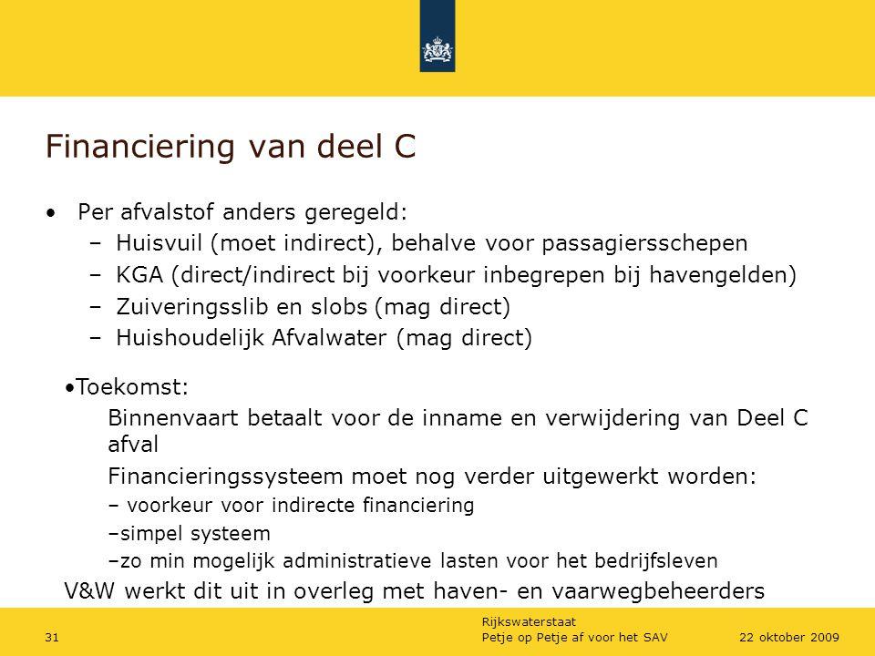 Rijkswaterstaat Petje op Petje af voor het SAV3122 oktober 2009 Financiering van deel C Per afvalstof anders geregeld: –Huisvuil (moet indirect), beha