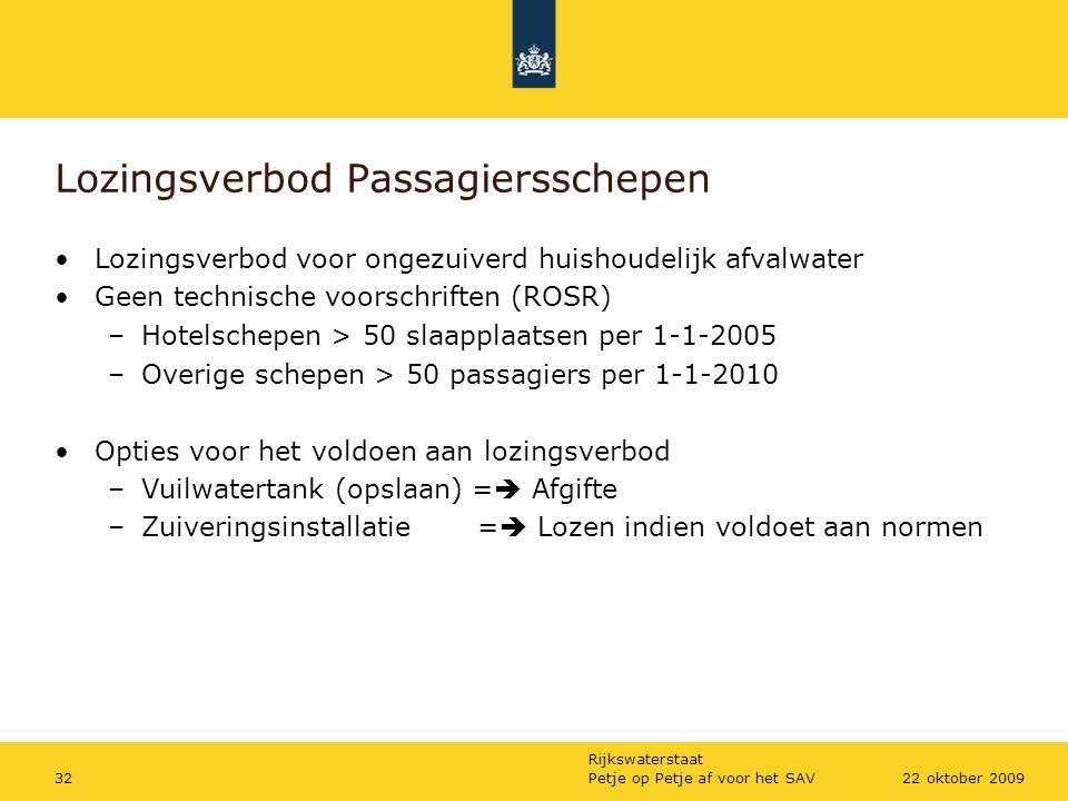 Rijkswaterstaat Petje op Petje af voor het SAV3222 oktober 2009 Lozingsverbod Passagiersschepen Lozingsverbod voor ongezuiverd huishoudelijk afvalwate