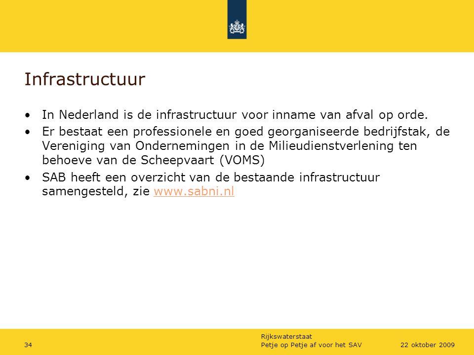 Rijkswaterstaat Petje op Petje af voor het SAV3422 oktober 2009 Infrastructuur In Nederland is de infrastructuur voor inname van afval op orde. Er bes