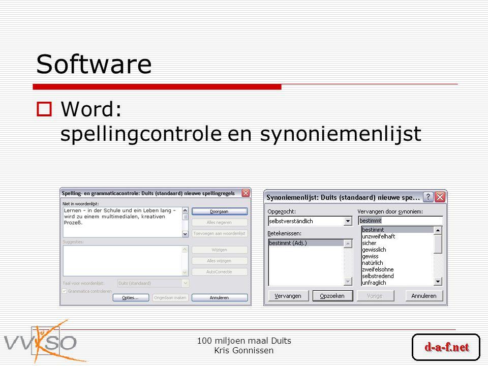 100 miljoen maal Duits Kris Gonnissen Software  Word: spellingcontrole en synoniemenlijst