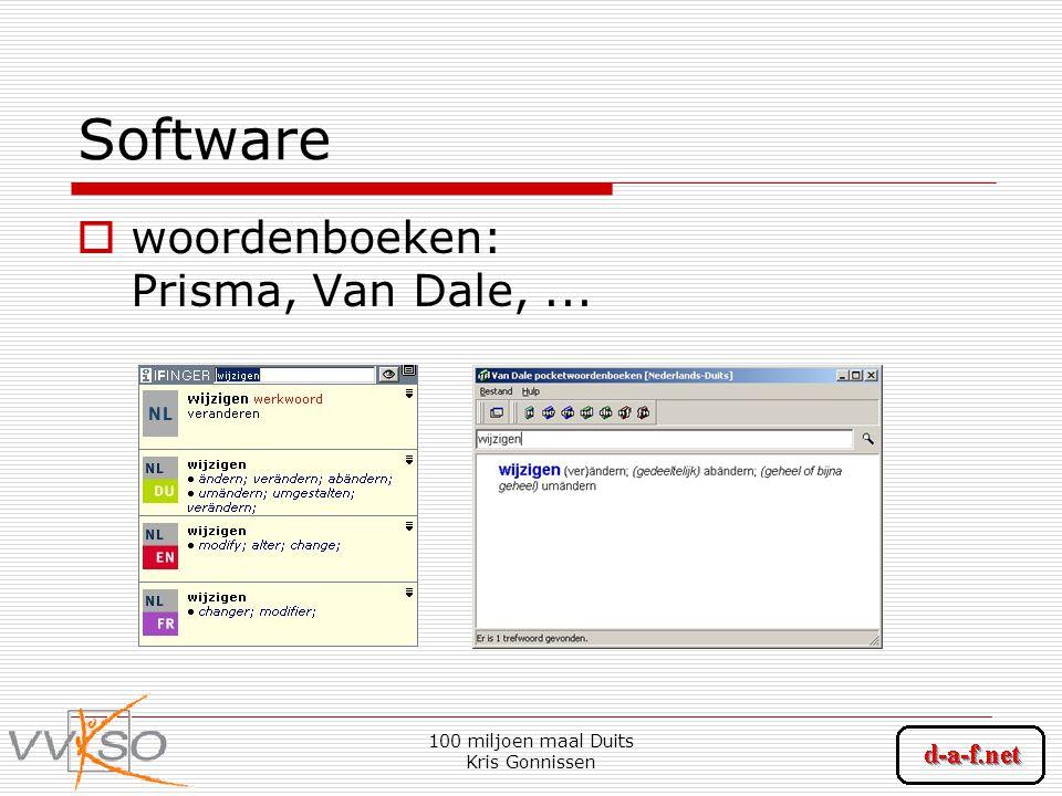 100 miljoen maal Duits Kris Gonnissen Software  woordenboeken: Prisma, Van Dale,...